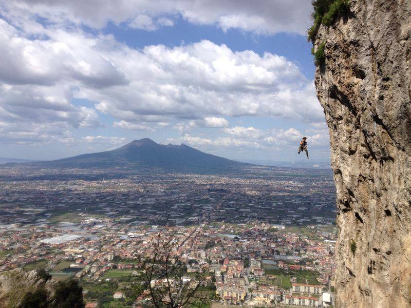 Climbing Naples with Vesuvio View